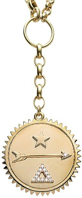 Foundrae Large Dream Medallion On Mixed Medium and Large Belcher Yellow Gold Necklace