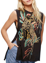 Free People Beaded Embellished Tropical Print Tank