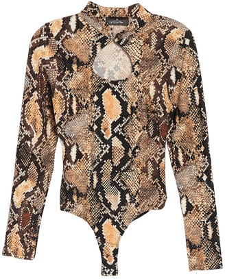 4SI3NNA the Label Abby Snake Print Bodysuit