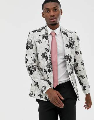 Moss Bros slim blazer with floral jacquard in grey