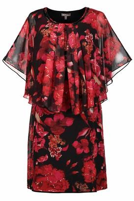 Ulla Popken Women's Plus Size Bold Floral Chiffon Overlay Dress Scarlet Multi 28 725690 51-54