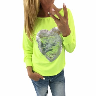 ReooLy Womens Heart Sequins O Neck Long Sleeve Blouse Ladies Top Shirt Blouse T Shirt Hotpink