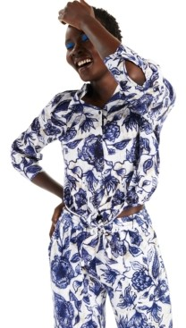 INC International Concepts Inc Cotton Printed Tie-Hem Button-Down Top, Created for Macy's