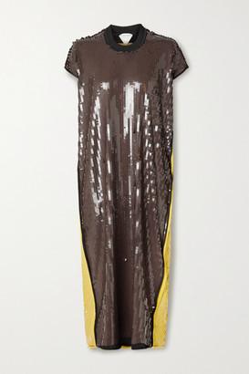 Bottega Veneta Two-tone Sequined Stretch-knit Midi Dress - Brown