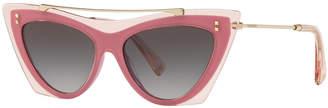 Valentino Acetate & Metal Brow Bar Cat-Eye Sunglasses