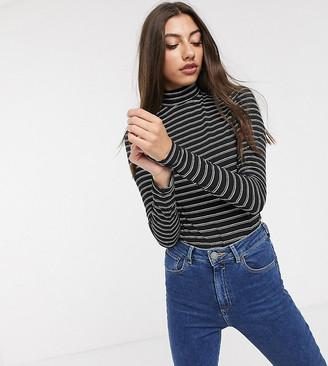Asos DESIGN Tall turtleneck long sleeve top in stripe