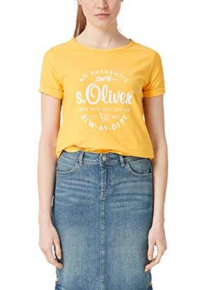 S'Oliver Women's's 14.902.32.5071 T-Shirt, (Pure Yellow Placed Print 13d1), 10 (Size: )