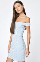 La Hearts Off-The-Shoulder Eyelet Dress