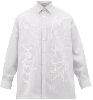 Givenchy Scribble-print Striped Cotton Shirt - Blue White