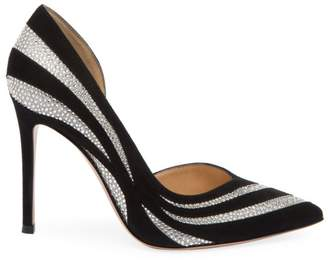 Gianvito Rossi Glitter Stripe Suede & Silk Pumps