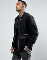 Asos Jersey Bomber Jacket With Woven Panels & Zip Pockets