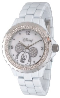 EWatchFactory Disney Mickey Mouse Women's White Enamel Sparkle Alloy Watch