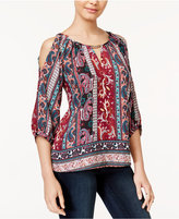 BCX Juniors' Embellished Cold-Shoulder Top