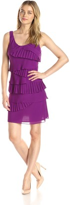 SL Fashions Women's Solid Pleated Tiered Dress