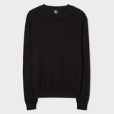 Paul Smith Men's Navy And Black Reverse-Knit Stripe Cotton Sweater