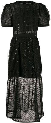 Self-Portrait Lace-Panel Midi Dress