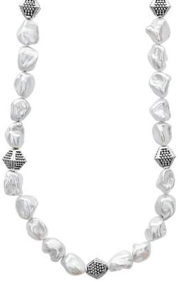 """Lagos Sterling Silver Luna Freshwater Keshi Pearl Necklace, 18"""""""