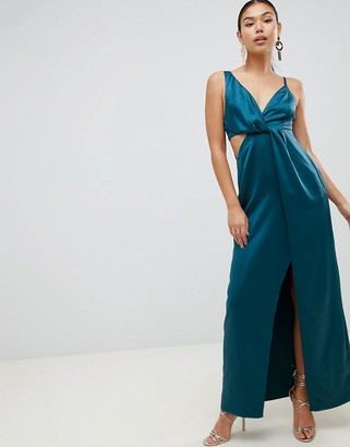 Asos Design DESIGN satin maxi dress with knot front and side cut out-Green