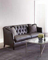 Horchow Adella Tufted Leather Sofa