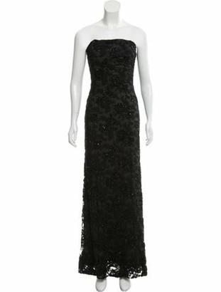 Carmen Marc Valvo Strapless Embellished Evening dress Black