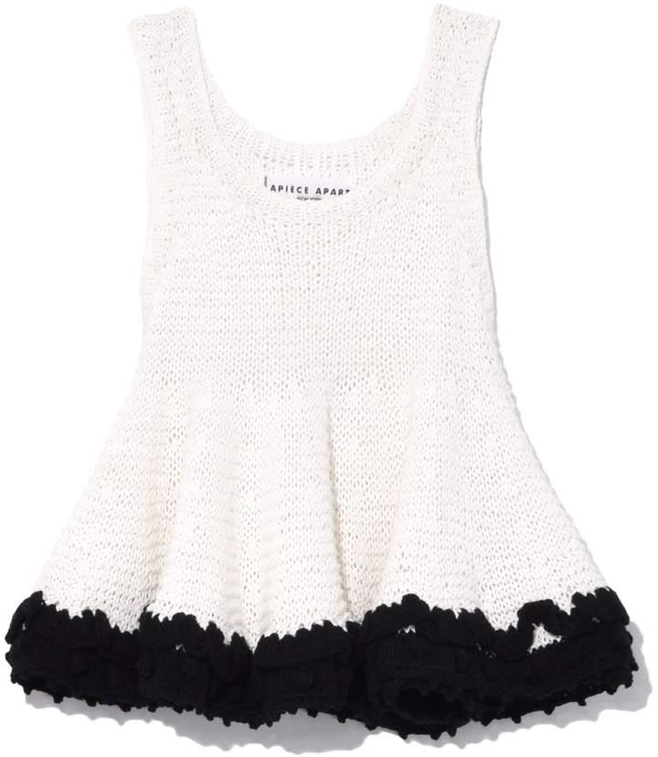 Apiece Apart Seri Crochet Swing Tank in Cream with Black