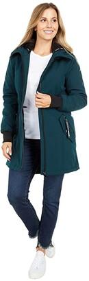 Calvin Klein Hooded Cozy Lined Anorak w/ Front Zip (Emerald) Women's Coat