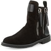 Giuseppe Zanotti x Zayn Men's Suede Double-Zip Ankle Boot, Nero/Black