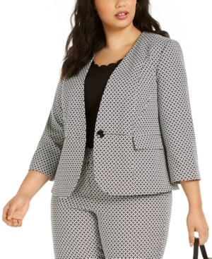 Kasper Plus Size Geometric-Print One-Button Blazer