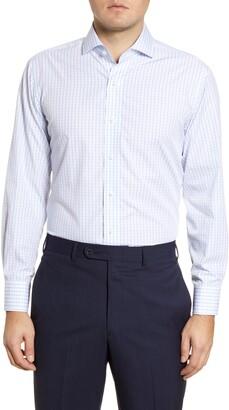 Lorenzo Uomo Trim Fit Windowpane Dress Shirt