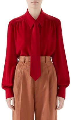 Gucci Vintage Menswear Tie Silk Blouse