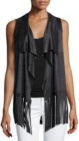 Design History Fringed-Hem Faux-Suede Vest, Onyx