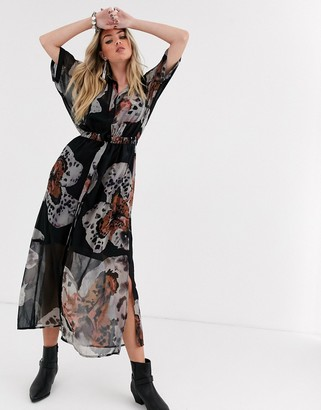 Religion maxi shirt dress in floral print-Black