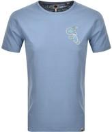 Pretty Green Marshall Paisley Logo T Shirt Blue