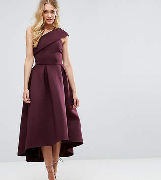 Asos Tall TALL One Shoulder Foam Scuba Dip Back Midi Skater Dress-Purple