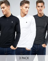 Asos Muscle Pique Long Sleeve Polo 3 Pack SAVE