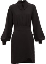 Ganni Balloon-sleeve Crepe Dress - Womens - Black