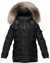 Moncler Hooded Fur-Trim Button-Front Puffer Coat, Black, Size 4-6