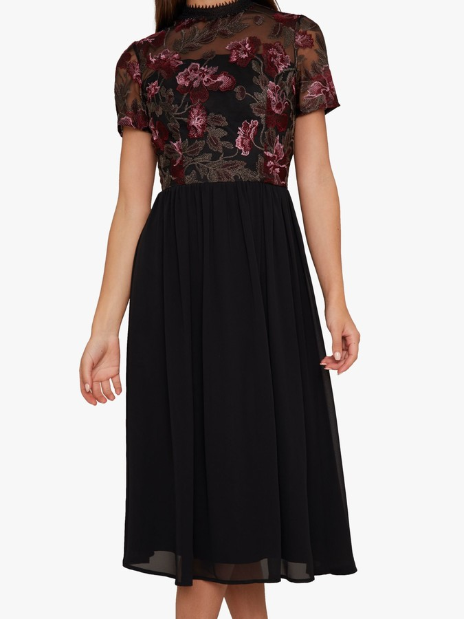 Chi Chi London Tashy Embroidered Midi Dress, Black