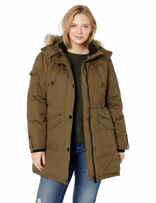 Celsius Women's Plus-Size Heavyweight Wellon Coat with Oversized Fur Trim Hood Outerwear