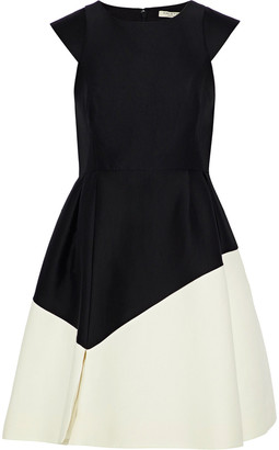 Halston Two-tone Cotton And Silk-blend Mini Dress