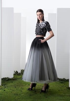 Saiid Kobeisy Short Sleeve Crop Top and Full-Circle Skirt