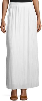Joan Vass Petite Long Pleated Skirt, White
