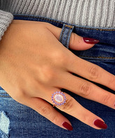 Swarovski Sevil 925 Women's Rings - Pink & 18k Rose Gold-Plated Spike Oval Ring With Crystals