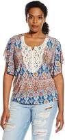 Star Vixen Women's Plus-Size Crochet Trim Flutter Sleeve Top