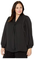 Vince Camuto Specialty Size Plus Size Long Sleeve Puff Shoulder Embellished Tie Neck Blouse (Rich Black) Women's Clothing