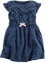 Carter's Indigo Flutter-Sleeve Bodysuit Dress