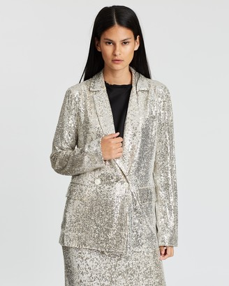 Whistles Sequin Double-Breasted Blazer