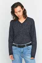 Cheap Monday Curve Black And Grey V-neck Mix Knit Jumper