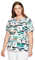 Alfred Dunner Women's Stripe Floral Knit Top