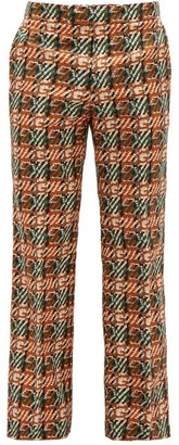 Gucci G-check Printed Cotton-canvas Trousers - Orange Multi